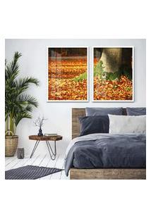 Quadro 65X90Cm Árvores Com Folha De Outono Moldura Branca Com Vidro