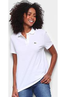 Camisa Polo Lacoste Básica Botão Feminina - Feminino-Branco