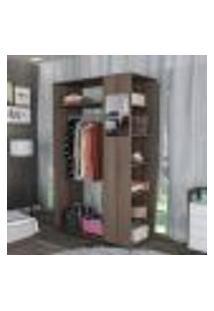 Estante Closet Moove Com 7 Nichos E Espelho - Nogueira
