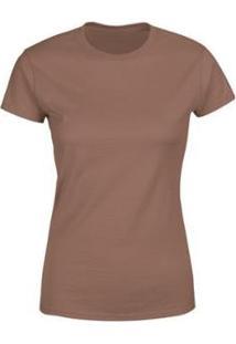 Camiseta Goup Supply Lisa Básica Premium 100% Algodão Feminina - Feminino-Marrom