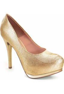 26be5273d1 ... Sapato Vizzano Meia Pata Mini Lezard Metalizado - Feminino-Dourado