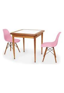 Conjunto Mesa De Jantar Em Madeira Imbuia Com Azulejo + 2 Cadeiras Eames Eiffel - Rosa