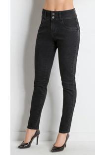 Calça Jeans Skinny Preta Com Bolsos