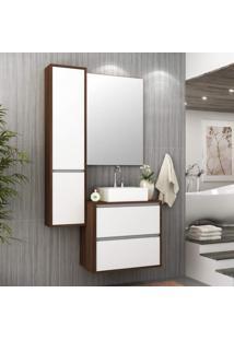 Conjunto Para Banheiro Com Cuba E Espelho Firenze Móveis Bosi Nogal/Branco