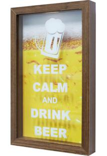 Quadro Porta Tampinhas Keep Calm Natural 17X27Cm