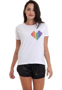 Camiseta Basica Joss Lgbt Coração Logo Branca Dtg