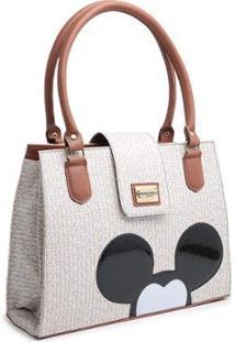 Bolsa Gouveia Costa Mickey Mouse Compacta Alça Dupla Mão Feminina - Feminino-Nude