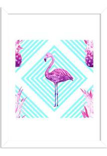 Quadro Decorativo Flamingo Tropical Moderno Branco - Grande