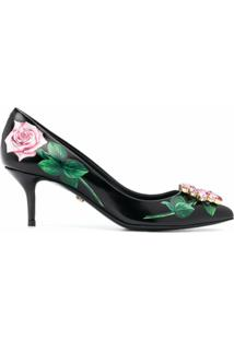 Dolce & Gabbana Scarpin Tropical Rose Com Aplicação De Cristais - Preto