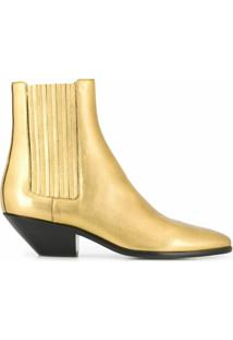 Saint Laurent Bota Wyatt - Dourado