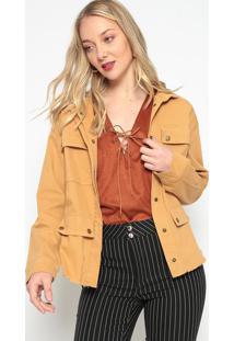 Casaco Texturizado Com Bolsos- Amarelo Escuro- Zincozinco