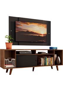 Rack Madesa Cancun E Painel Para Tv Até 58 Polegadas Com Pés - Preto/Rustic 7Kd8 Preto