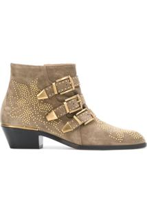 Chloé Ankle Boot 'Susanna' De Camurça - Neutro