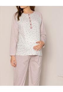 Pijama Longo Gestante Com Peitilho Pzama (20009) Algodão