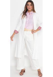 Kimono Alongado Com Fendas- Off Whitevip Reserva