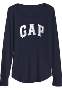 Blusa Gap Logo Metalizado Azul-Marinho