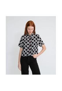 Camisa Cropped Estampa Quadriculada Com O Mickey | Mickey Mouse | Preto | P