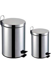 Lixeira Inox - Kit 2 Peças Capacidade De 3L E 5L,Balde Interno Removível-Elevação Através De Pedal Emborrachado E Alça Externa - Home&Garden