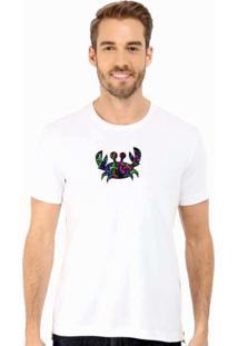 Camiseta Manga Curta Relaxado Caranguejo Color Branco