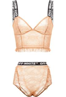 Off-White Sutiã De Renda Com Logo - Neutro
