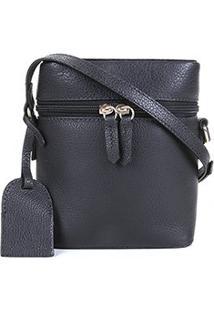 Bolsa Couro Shoestock Mini Basic Transversal Feminina - Feminino-Preto