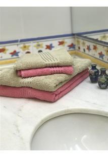 Jogo 4 Peças Toalhas Banho E Rosto Prisma Af1290 - Bege E Rosa