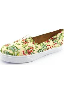 Tênis Slip On Quality Shoes Floral Feminino - Feminino-Amarelo