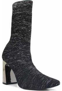 Bota Cecconello Skinny Em Tecido Salto Feminina - Feminino-Preto+Cinza