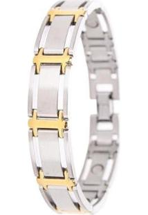 Pulseira Sabona Executive Symmetry Duet Magnetic - Masculino-Prata