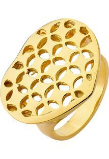Anel La Madame Co Coração Com Textura Vazada Banhado A Ouro 18K