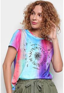 Camiseta Cantão Babylook Astrologia Manga Curta Feminina - Feminino-Azul Claro
