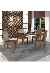 Conjunto Mesa Tampo De Vidro Preto Lavínia E 4 Cadeiras Pampulha Leifer Imbuia Mel/Imbuia Mel/Animale Capuccino