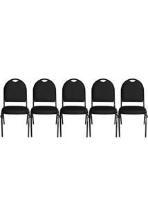 Kit 05 Cadeiras Pethiflex Essencial Hot Fixável Couro Preto