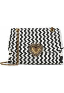 Dolce & Gabbana Bolsa Transversal Devotion Com Trama Chevron - Preto