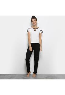 Pijama Lupo Longo Viscose Bicolor Feminino - Feminino-Preto+Branco