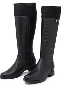 Bota Montaria Retta Shoes Matelassê Preta Com Detalhe Em Suede