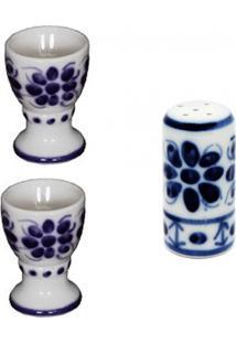 Kit De 2 Porta Ovos E Um Saleiro, De Porcelana, Feito E Pintados A Mão