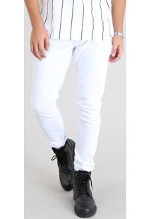 Calça Em Sarja Masculina Slim Branca