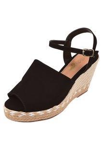 Sandália Uzze Sapatos Anabela Confort Fechada Preta