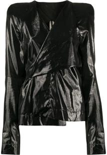 Rick Owens Coated Wrap Blouse - Preto