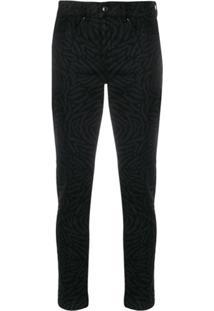 Escada Sport Calça Jeans Cropped Cintura Média Com Estampa - Preto