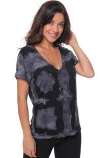 Camiseta Gola V Estampada Tie Dye Sob Manga Curta Preta