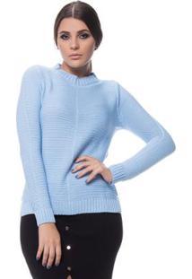 Blusa Logan Tricot Friz Na Frente Enas Mangas - Feminino-Azul
