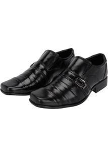 Sapato Social Couro C/ Costura - Masculino-Preto