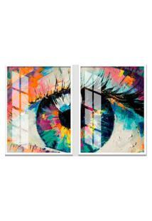 Quadro 65X90Cm Abstrato Olhar Aquarela Moldura Branca Sem Vidro Decorativo Interiores