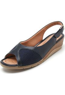 Sandália Comfortflex Recortes Azul-Marinho