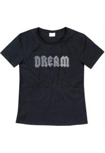 Blusa Preta Dream Aplique Enfim