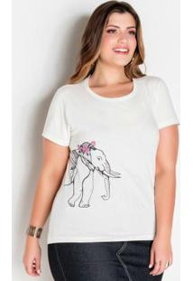 T-Shirt Off White Plus Size Com Estampa Lateral