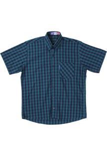 Camisa Manga Curta Xadrez Rodeo Westrn Masculina - Masculino-Verde