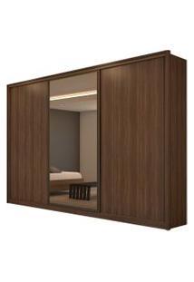 Guarda Roupa Casal C/ Espelho 3 Portas De Correr 6 Gavetas Spazio Glass Imbuia Naturale/Off White/Imbuia Naturale Lopas